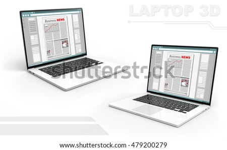 A illustration of 3D black and white perspective laptop set with Business newspaper screen