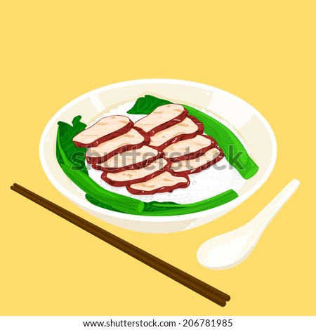 A illustration of Hong Kong style food BBQ pork with rice - stock photo