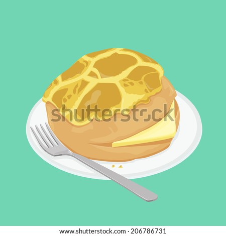 A illustration of Hong Kong style food pineapple bun with butter - stock photo