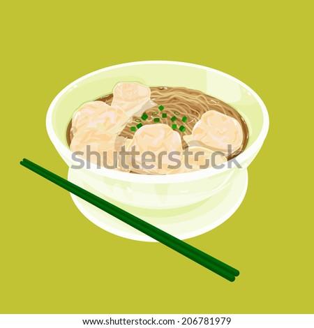 A illustration of Hong Kong style food wonton noodles - stock photo