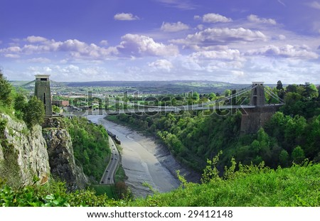 a image capturing the whole of the world famous Isambard Kingdom Brunel's  Clifton suspension bridge in Bristol - stock photo