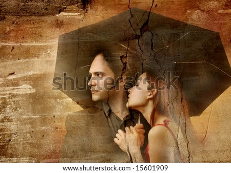 a image of a couple on the wall - stock photo