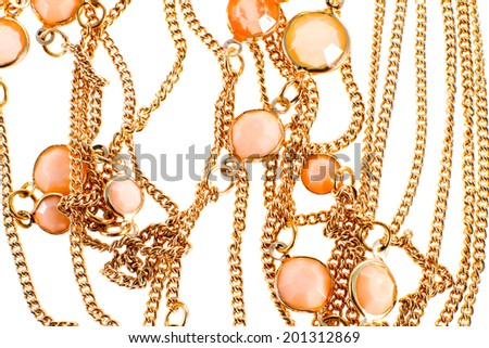 a image of a female jewelry chain with stones - stock photo