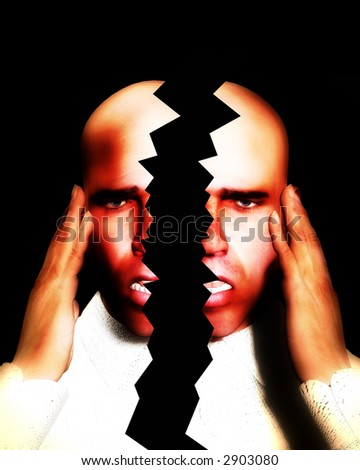 A image of a man in terrible expressive pain, possible having a migraine. - stock photo