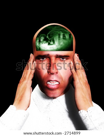 A image of a man in terrible expressive pain, with the word pain in his head. - stock photo