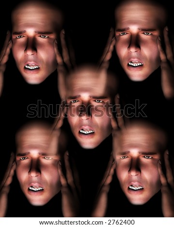 A image of a set of men in terrible expressive pain, possible having a migraine. - stock photo