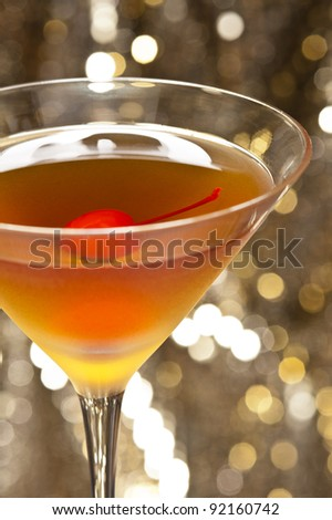 A image of a single Rob Roy Cocktail - stock photo