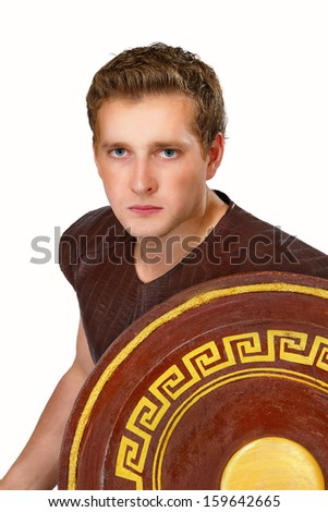 a image of the Greek warrior with a shield - stock photo