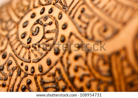 A image showing closeup of a hand with herbal heena. - stock photo