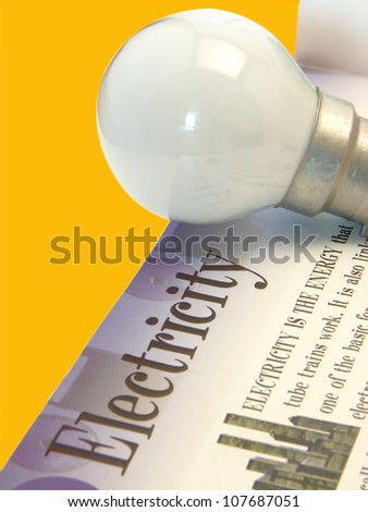 A image showing light bulb with the text electricity on isolated background with fine clipping path. - stock photo