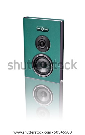 A imaginary audio book with speakers - stock photo