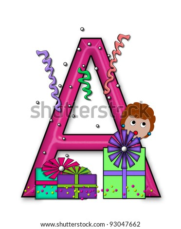 """A, in the alphabet set """"Birthday Letters"""", is surrounded by colorfully wrapped presents complete with bows.  Woman hides behind presents and peeks out pretending surprise. - stock photo"""