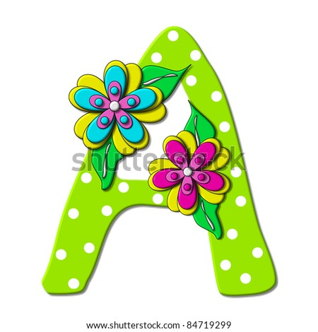 """A, in the alphabet set """"Bright Floral"""", is decorated with three layer modernistic flowers in bright fun colors.  Letters are brilliant green. - stock photo"""