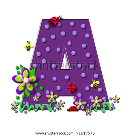 """A, in the alphabet set """"Buzzing Garden"""", is decorated with three dimensional polka dots and a three layer flower.  Purple letters are decorated with lady bugs, snakes and bees. - stock photo"""