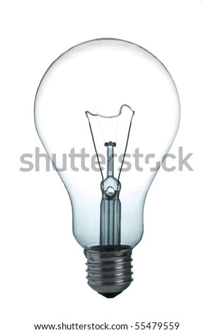 A incandescent light bulb on white background - stock photo