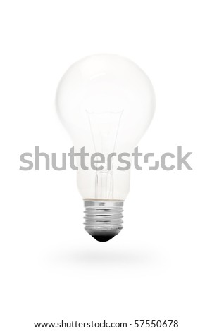 A incandescent light bulb on white background
