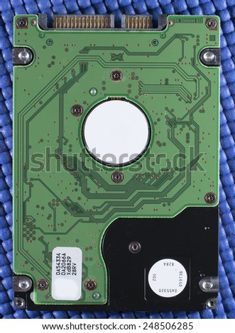 A 2.5 inch form factor hard drive from a laptop. - stock photo
