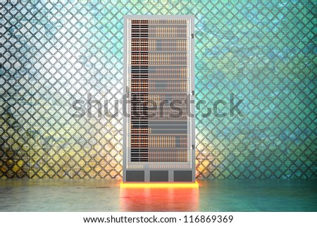 A iron server room. 3D rendered Illustration. - stock photo