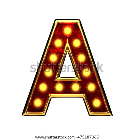 a isolated golden letter with lights on white. 3d illustration