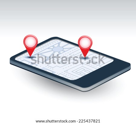 A isometric view of a mobile phone with navigation map - stock photo