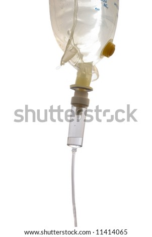 A IV bag and dripset - stock photo