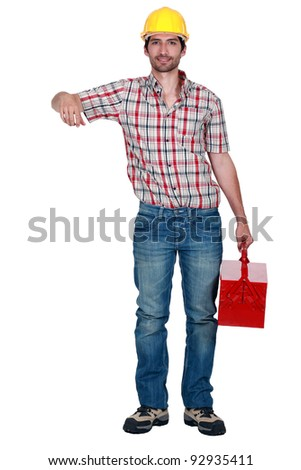 A janitor with a toolbox. - stock photo