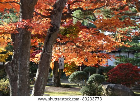A Japanese Garden in Autumn Atmosphere - stock photo