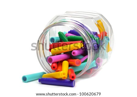 A jar of fountain pen colour refill cartridges - stock photo