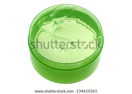 A Jar of Fresh Aloe Vera Gel isolated on white background. Aloe Vera is natural remedy for sunburn relief and cure many things - stock photo