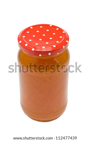 A jar of homemade seville orange marmalade isolated on a white background - stock photo