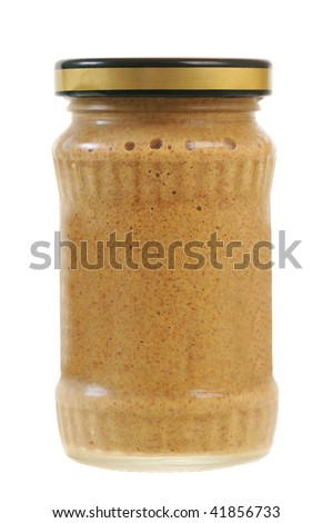 A jar of mustard isolated on white background - stock photo
