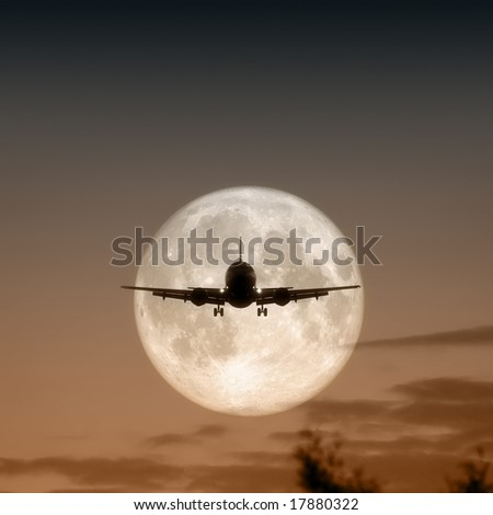A jet air plane in the moon - stock photo