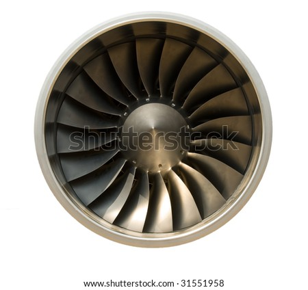 A jet engine - isolated with path - stock photo