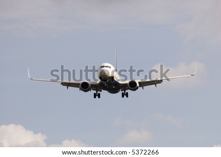 A jet plane coming in to land