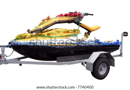 A Jetski decorated for christmas - stock photo