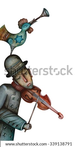 A jewish fiddler is playing violin - stock photo