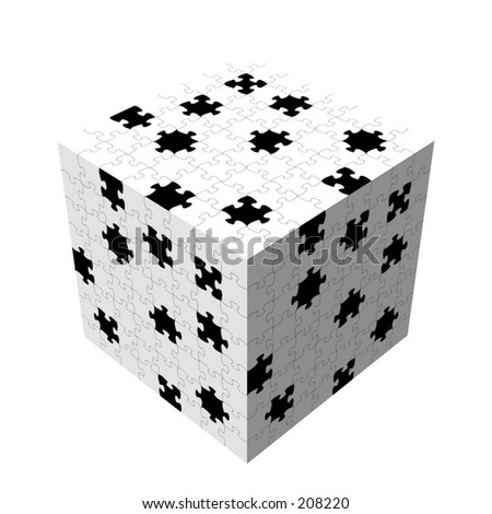 A jigsaw puzzle missing some pieces, mapped to a cube. - stock photo
