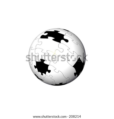 A jigsaw puzzle missing some pieces, mapped to a sphere. - stock photo