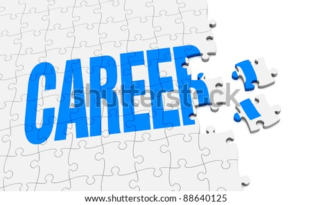 a jigsaw puzzle that form the word career (3d render) - stock photo