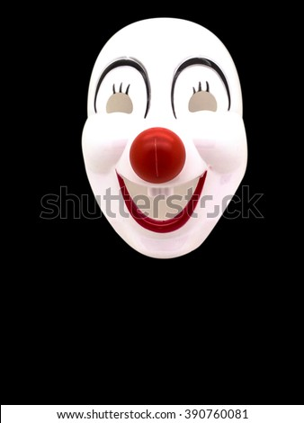 A Joker Mask on black background and isolated edit contrast effect for Graphic design