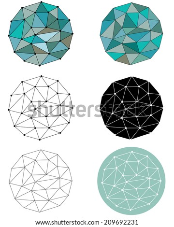 A JPEG set of different versions and styles of a polygonal circle pattern - stock photo