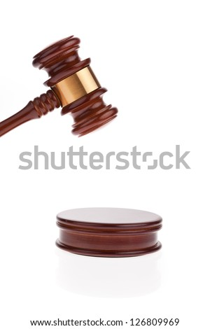 a judge or auction hammer hammer. isolated against a white background.