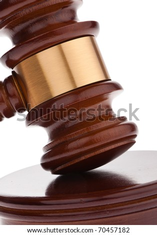 A judge or auction hammer hammer. Isolated against a white background. - stock photo