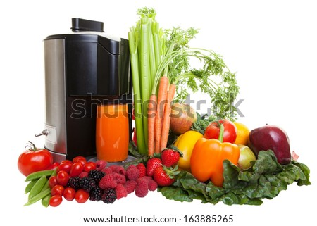 A Juicer surrounded by healthy fruits and vegetables, isolated on white.