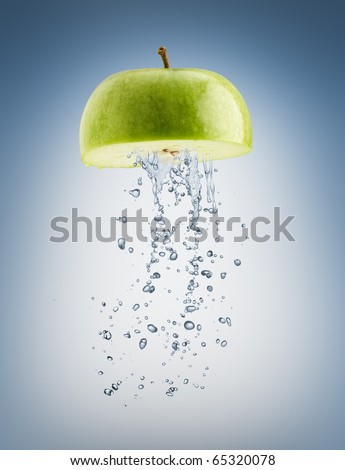 a juicy fruit on the blue background - stock photo
