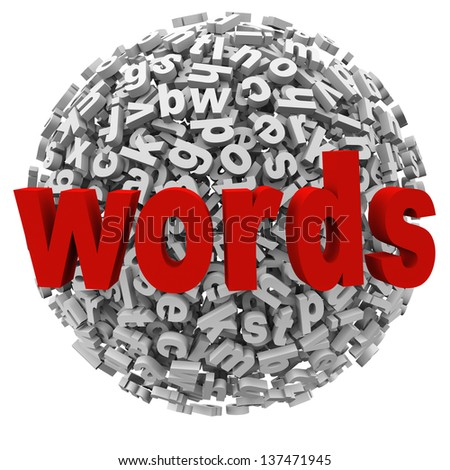 A jumble ball of words and letters to represent communication, writing, learning and alphabet skills in education - stock photo