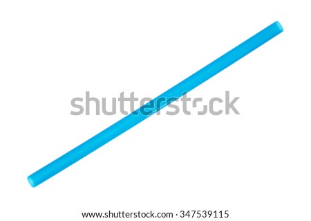 A jumbo sized blue drinking straw for smoothies and milkshakes isolated on a white background. - stock photo