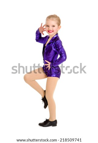 A Junior Petite Tap Dance Kid in Girls Sassy Recital Costume - stock photo