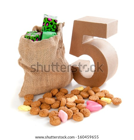 "A jute bag with gingernuts, for celebrating the dutch holiday "" sinterklaas "" on the fifth of December"