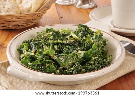 A kale salad with feta cheese and a Vinaigrette dressing - stock photo